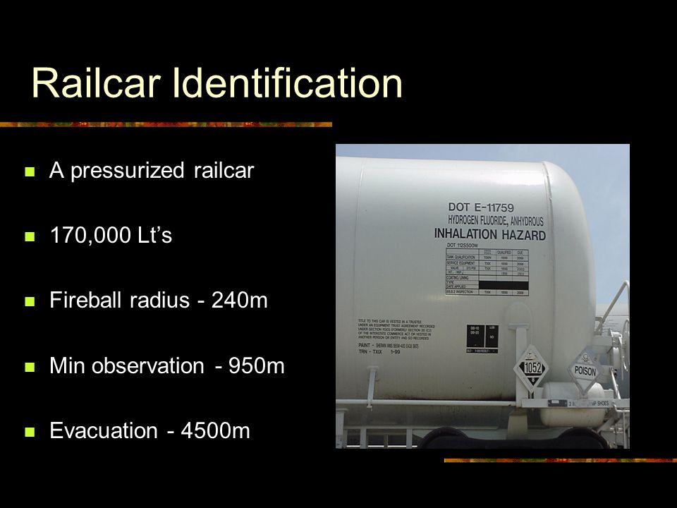 Railcar Identification A pressurized railcar 170,000 Lt's Fireball radius - 240m Min observation - 950m Evacuation - 4500m