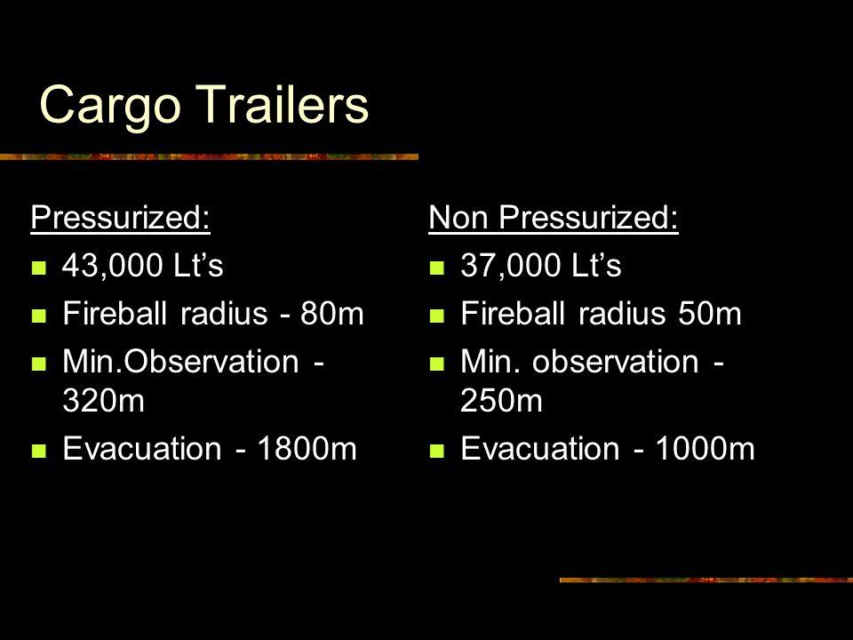 Cargo Trailers Pressurized: 43,000 Lt's Fireball radius - 80m Min.Observation - 320m Evacuation - 1800m Non Pressurized: 37,000 Lt's Fireball radius 50m Min.