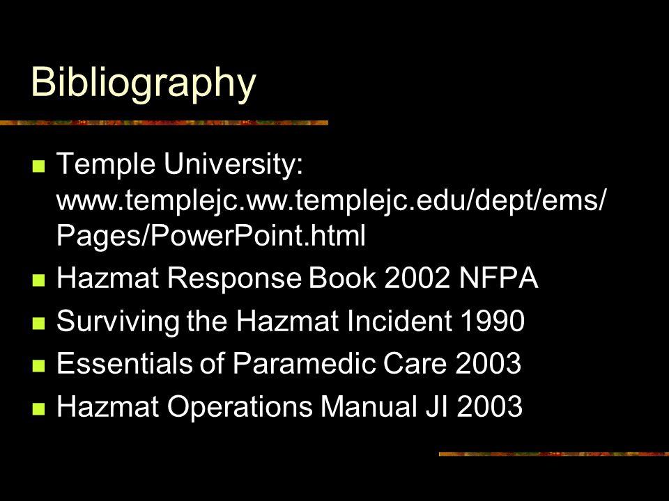 Bibliography Temple University: www.templejc.ww.templejc.edu/dept/ems/ Pages/PowerPoint.html Hazmat Response Book 2002 NFPA Surviving the Hazmat Incident 1990 Essentials of Paramedic Care 2003 Hazmat Operations Manual JI 2003