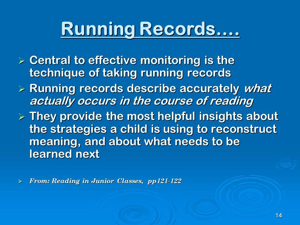 Running Records….