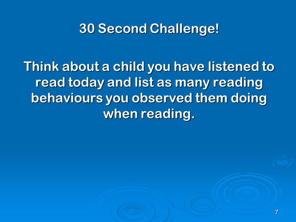 30 Second Challenge.