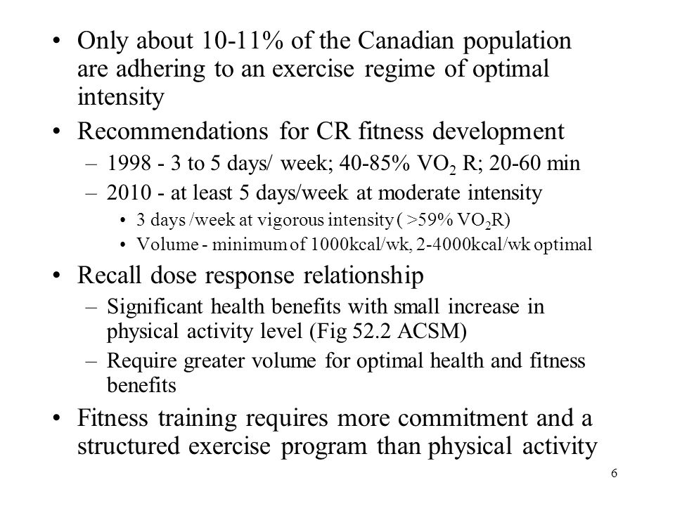6 Only about 10-11% of the Canadian population are adhering to an exercise regime of optimal intensity Recommendations for CR fitness development –199