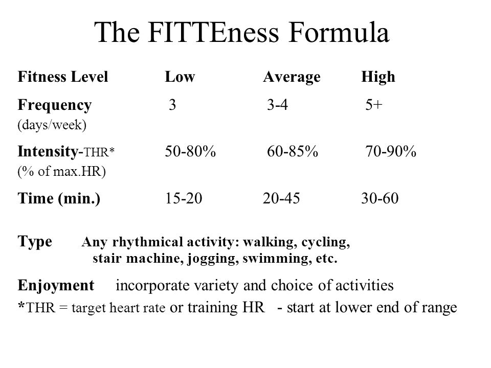 The FITTEness Formula Fitness Level Low Average High Frequency 3 3-4 5+ (days/week) Intensity- THR* 50-80% 60-85% 70-90% (% of max.HR) Time (min.) 15-