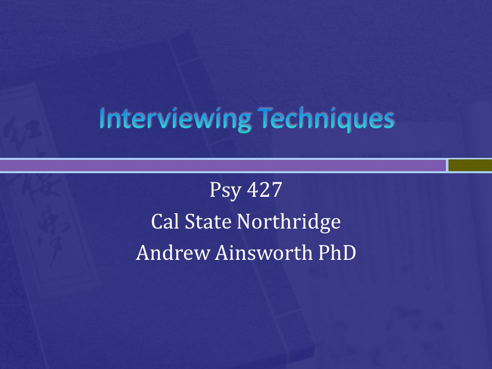 Psy 427 Cal State Northridge Andrew Ainsworth PhD