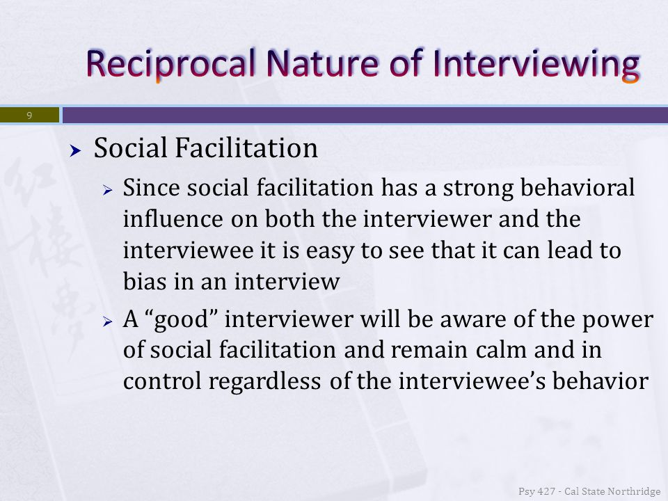  Case History Interview/Biographical Sketch  With open-ended interviews you can learn a great deal about a respondent and what is important to him/her  Case histories fill in the rest of the info that doesn't come up in the other interviews  Typically is made up of primarily direct (closed- ended) questions so stylistically different as well Psy 427 - Cal State Northridge 30