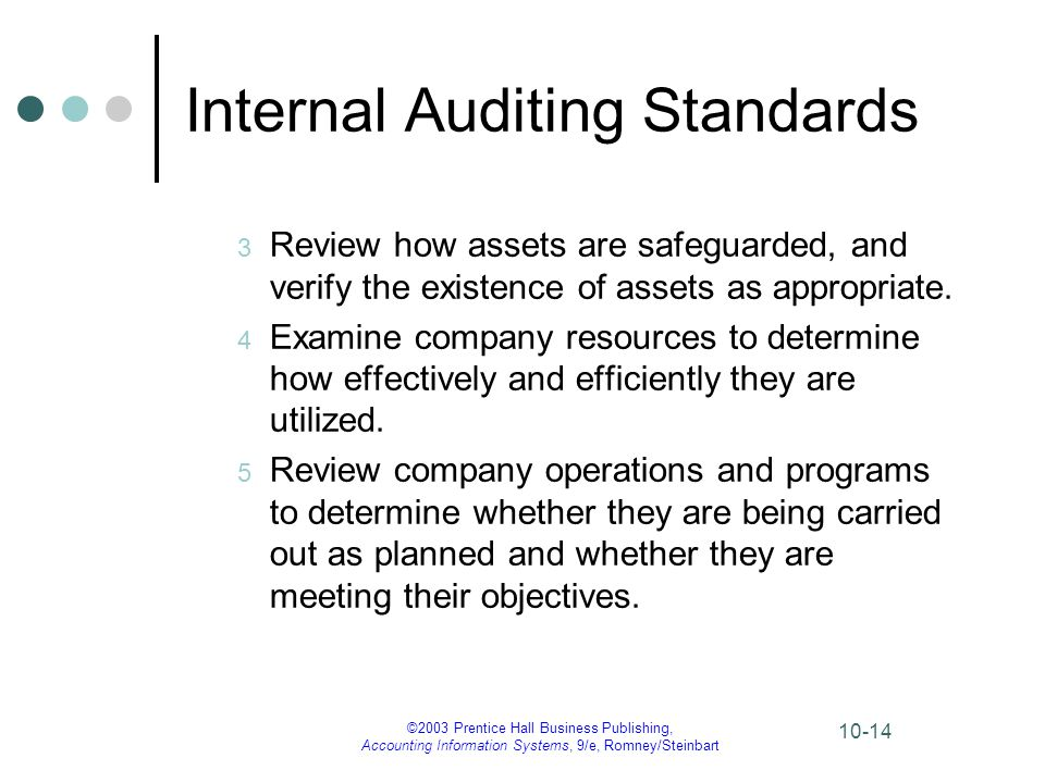 ©2003 Prentice Hall Business Publishing, Accounting Information Systems, 9/e, Romney/Steinbart 10-14 Internal Auditing Standards 3 Review how assets a