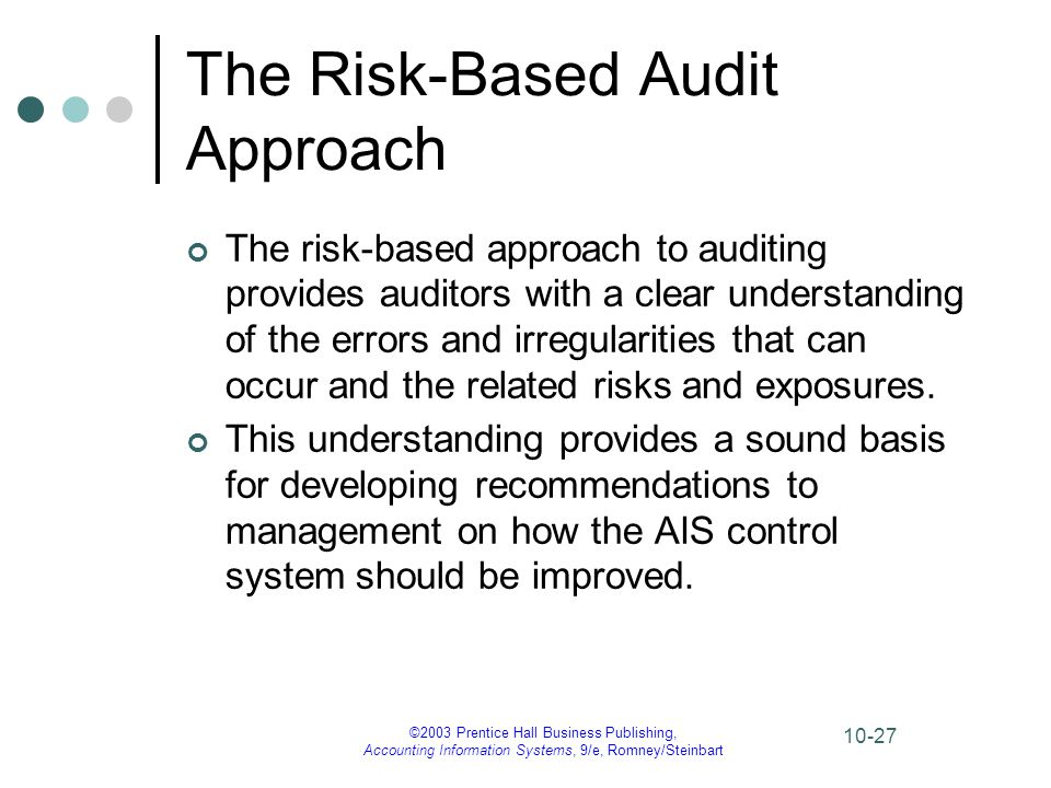 ©2003 Prentice Hall Business Publishing, Accounting Information Systems, 9/e, Romney/Steinbart 10-27 The Risk-Based Audit Approach The risk-based appr