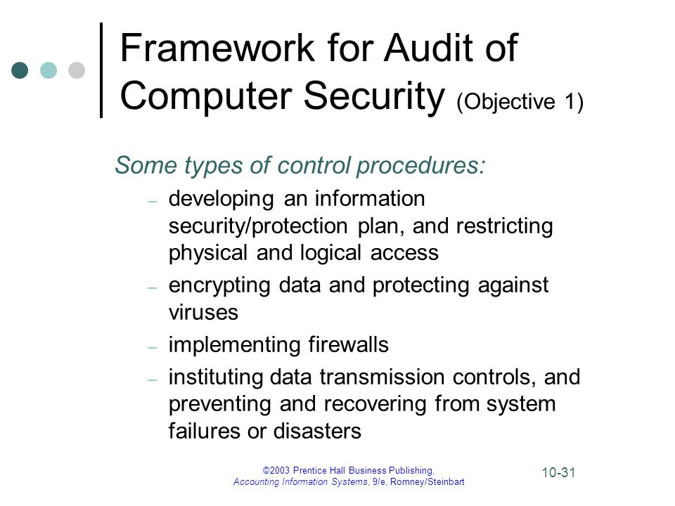 ©2003 Prentice Hall Business Publishing, Accounting Information Systems, 9/e, Romney/Steinbart 10-31 Framework for Audit of Computer Security (Objecti