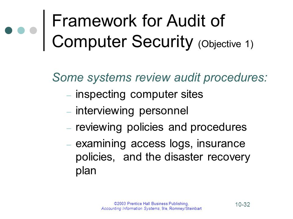 ©2003 Prentice Hall Business Publishing, Accounting Information Systems, 9/e, Romney/Steinbart 10-32 Framework for Audit of Computer Security (Objecti