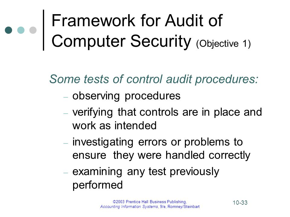 ©2003 Prentice Hall Business Publishing, Accounting Information Systems, 9/e, Romney/Steinbart 10-33 Framework for Audit of Computer Security (Objecti