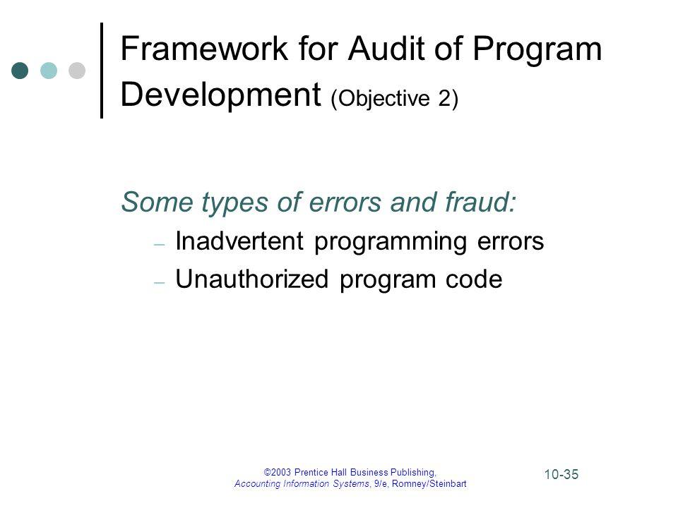 ©2003 Prentice Hall Business Publishing, Accounting Information Systems, 9/e, Romney/Steinbart 10-35 Framework for Audit of Program Development (Objec