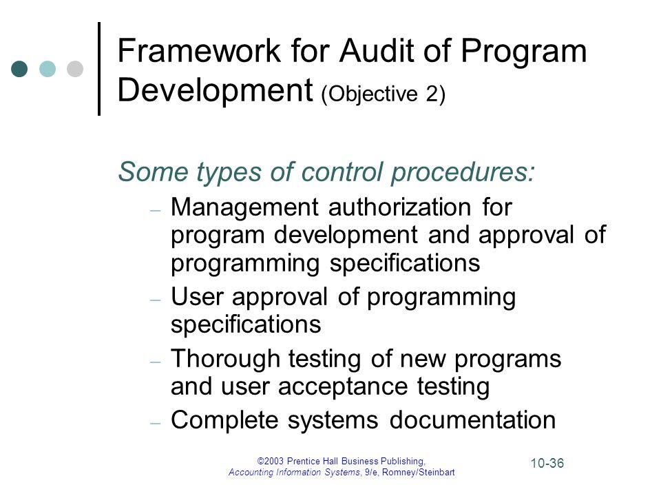 ©2003 Prentice Hall Business Publishing, Accounting Information Systems, 9/e, Romney/Steinbart 10-36 Framework for Audit of Program Development (Objec