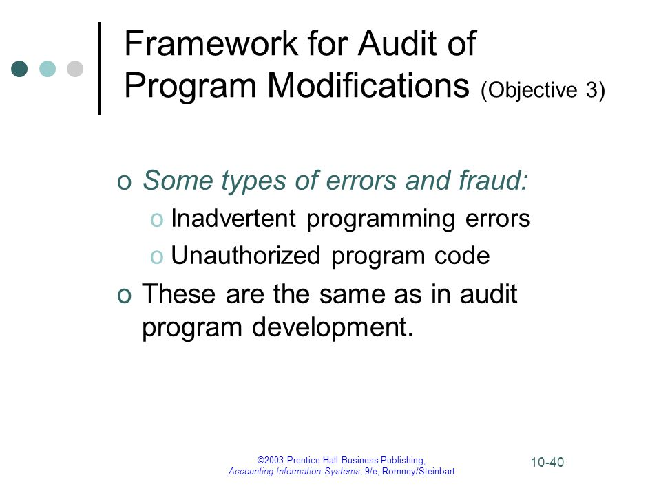 ©2003 Prentice Hall Business Publishing, Accounting Information Systems, 9/e, Romney/Steinbart 10-40 Framework for Audit of Program Modifications (Obj