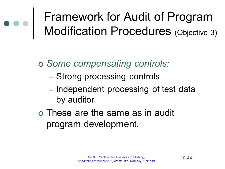 ©2003 Prentice Hall Business Publishing, Accounting Information Systems, 9/e, Romney/Steinbart 10-44 Framework for Audit of Program Modification Proce