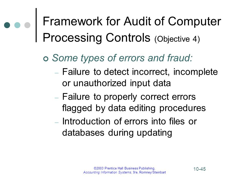 ©2003 Prentice Hall Business Publishing, Accounting Information Systems, 9/e, Romney/Steinbart 10-45 Framework for Audit of Computer Processing Contro