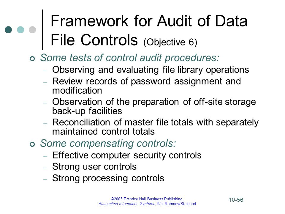 ©2003 Prentice Hall Business Publishing, Accounting Information Systems, 9/e, Romney/Steinbart 10-56 Framework for Audit of Data File Controls (Object