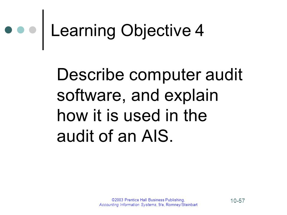 ©2003 Prentice Hall Business Publishing, Accounting Information Systems, 9/e, Romney/Steinbart 10-57 Learning Objective 4 Describe computer audit soft
