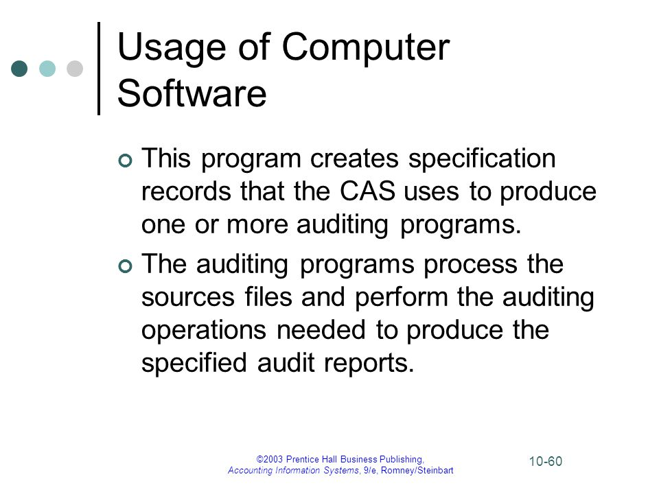 ©2003 Prentice Hall Business Publishing, Accounting Information Systems, 9/e, Romney/Steinbart 10-60 Usage of Computer Software This program creates s
