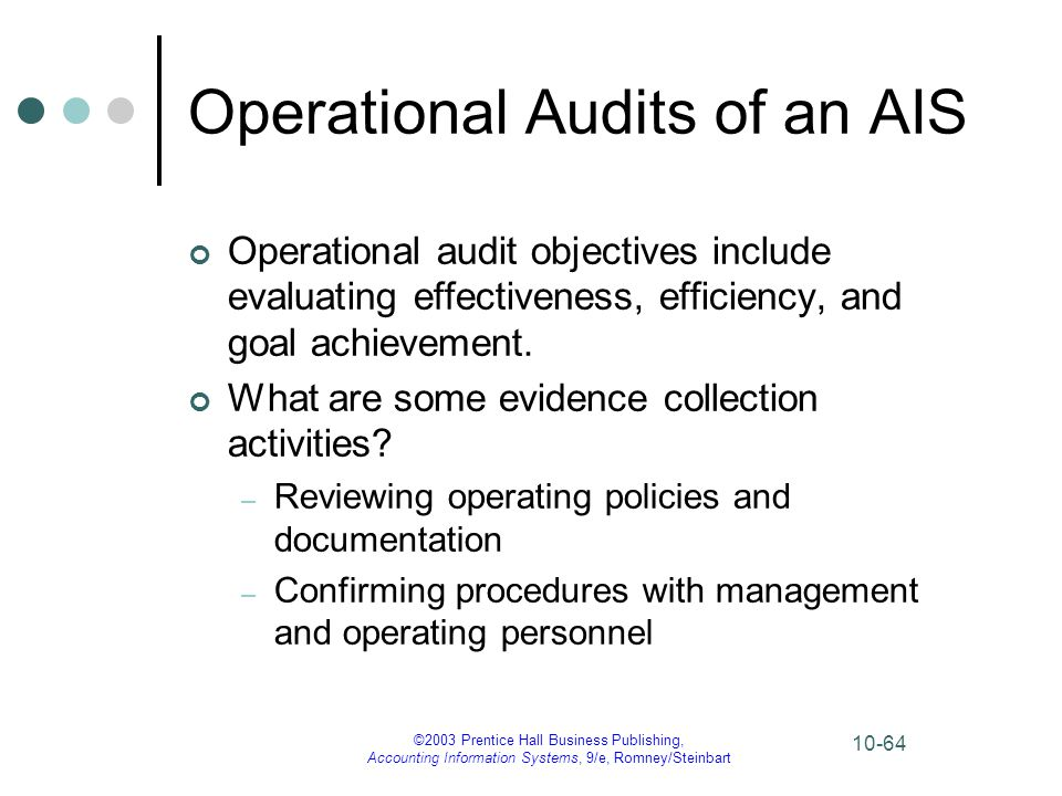 ©2003 Prentice Hall Business Publishing, Accounting Information Systems, 9/e, Romney/Steinbart 10-64 Operational Audits of an AIS Operational audit ob