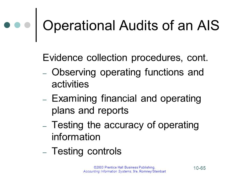 ©2003 Prentice Hall Business Publishing, Accounting Information Systems, 9/e, Romney/Steinbart 10-65 Operational Audits of an AIS Evidence collection