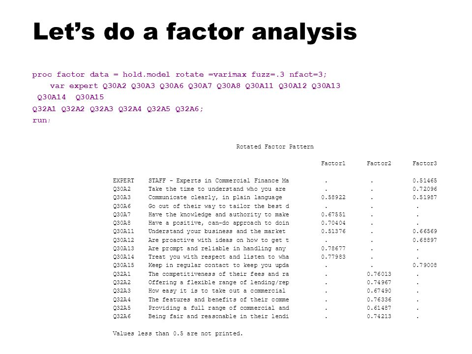 Let's do a factor analysis proc factor data = hold.model rotate =varimax fuzz=.3 nfact=3; var expert Q30A2 Q30A3 Q30A6 Q30A7 Q30A8 Q30A11 Q30A12 Q30A13 Q30A14 Q30A15 Q32A1 Q32A2 Q32A3 Q32A4 Q32A5 Q32A6; run ; Rotated Factor Pattern Factor1 Factor2 Factor3 EXPERT STAFF - Experts in Commercial Finance Ma..
