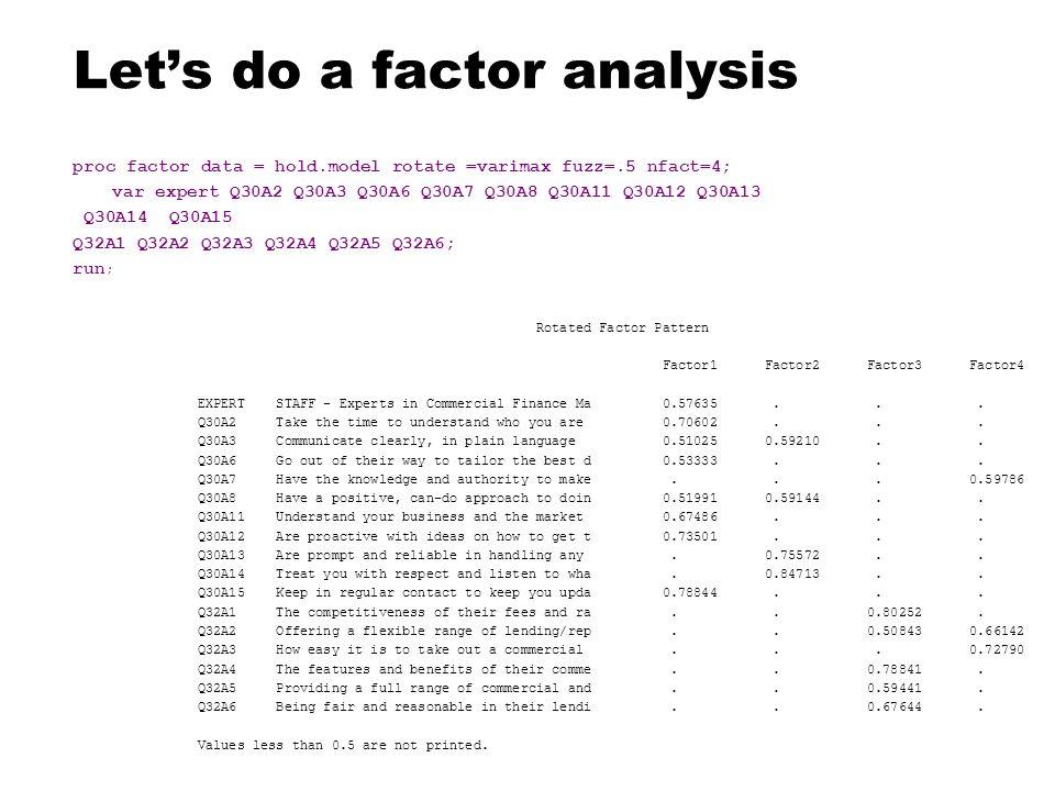 Let's do a factor analysis proc factor data = hold.model rotate =varimax fuzz=.5 nfact=4; var expert Q30A2 Q30A3 Q30A6 Q30A7 Q30A8 Q30A11 Q30A12 Q30A13 Q30A14 Q30A15 Q32A1 Q32A2 Q32A3 Q32A4 Q32A5 Q32A6; run ; Rotated Factor Pattern Factor1 Factor2 Factor3 Factor4 EXPERT STAFF - Experts in Commercial Finance Ma 0.57635...