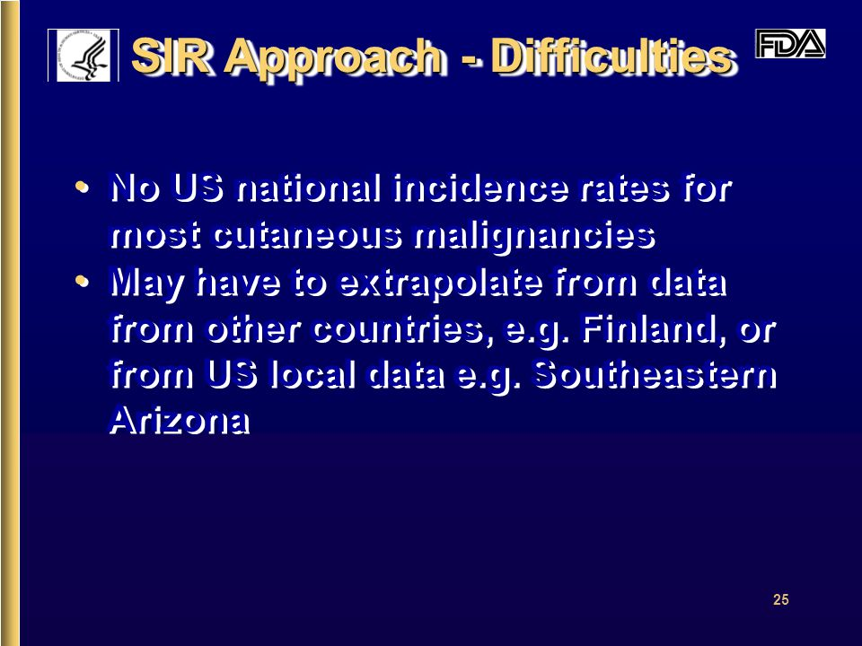 25 SIR Approach - Difficulties No US national incidence rates for most cutaneous malignancies May have to extrapolate from data from other countries, e.g.
