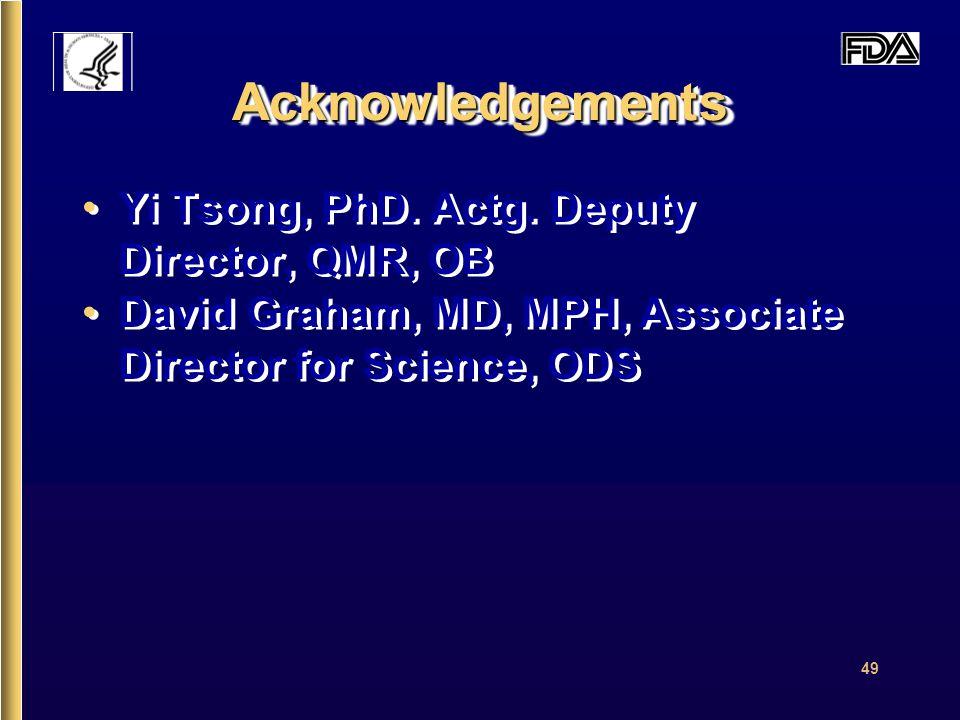 49 AcknowledgementsAcknowledgements Yi Tsong, PhD.