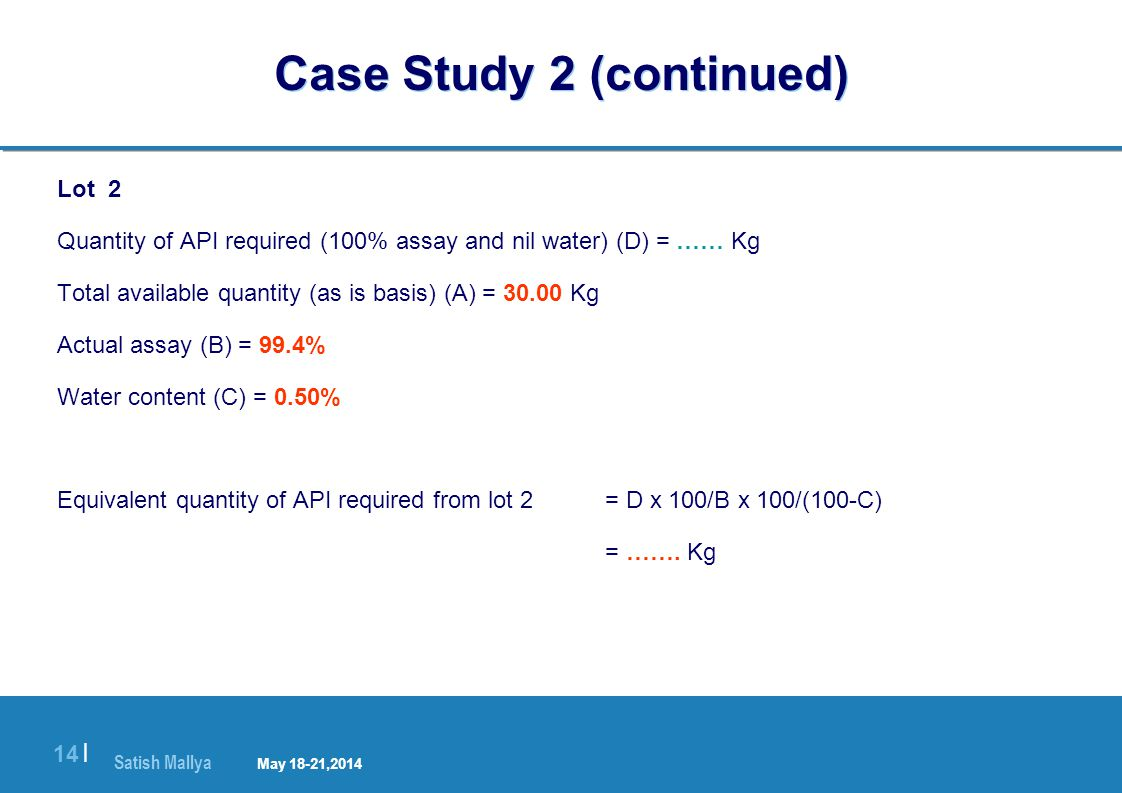 Satish Mallya January 20-22, 2010 14 | Case Study 2 (continued) Lot 2 Quantity of API required (100% assay and nil water) (D) = …… Kg Total available quantity (as is basis) (A) = 30.00 Kg Actual assay (B) = 99.4% Water content (C) = 0.50% Equivalent quantity of API required from lot 2 = D x 100/B x 100/(100-C) = …….