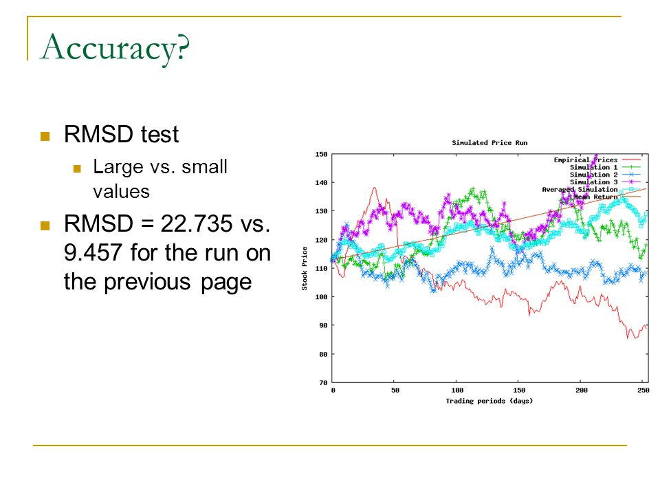 Accuracy? RMSD test Large vs. small values RMSD = 22.735 vs. 9.457 for the run on the previous page