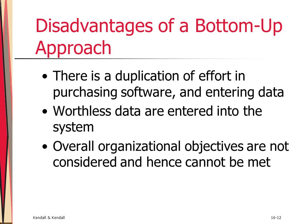 Kendall & Kendall16-12 Disadvantages of a Bottom-Up Approach There is a duplication of effort in purchasing software, and entering data Worthless data
