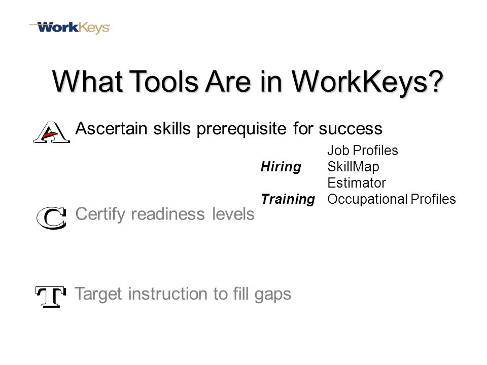 Job Profiles HiringSkillMap Estimator TrainingOccupational Profiles Certify readiness levels Target instruction to fill gaps What Tools Are in WorkKeys.