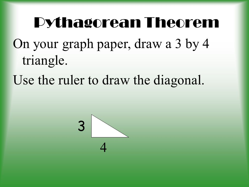 Pythagorean Theorem Prior Teaching –Characteristics of right triangle –Legs and Hypotenuse –a, b, c