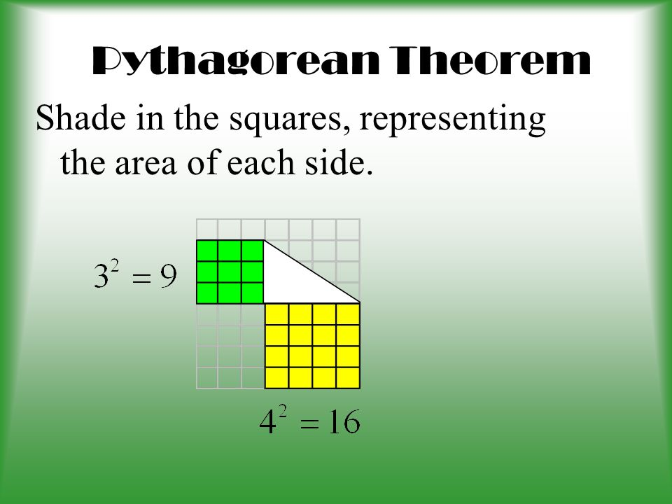 Pythagorean Theorem 3 4 On your graph paper, draw a 3 by 4 triangle. Use the ruler to draw the diagonal.
