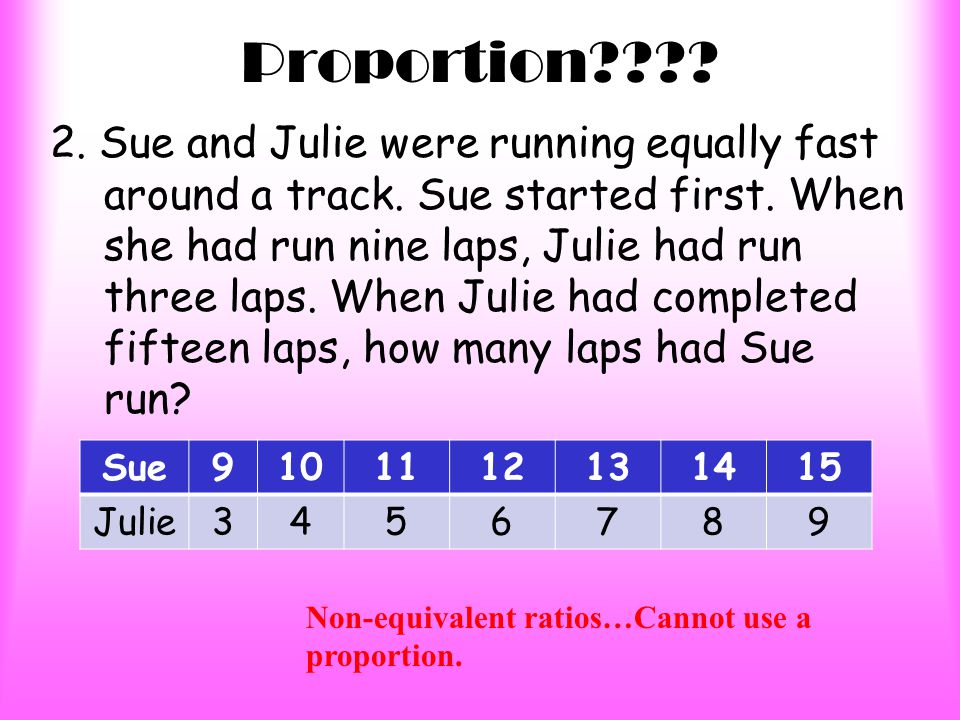 Proportion . 1.Susan runs 2 laps to John's 3 laps.