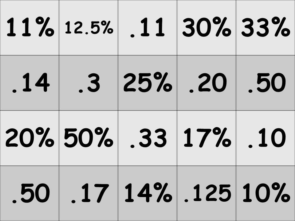 20% 12.5% 30%17% 10% 11%50%33% 25%14%