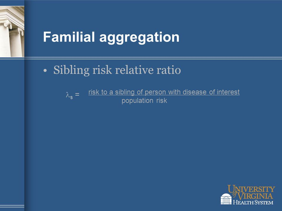 Familial aggregation Sibling risk relative ratio s = risk to a sibling of person with disease of interest population risk