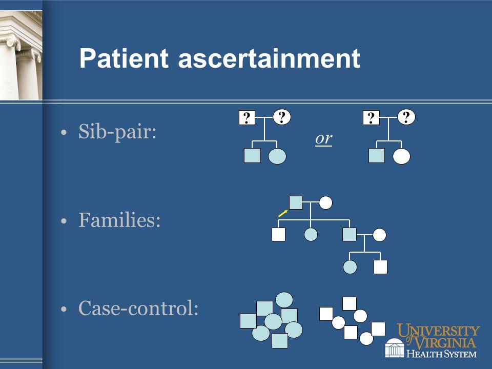 Patient ascertainment Sib-pair: Families: Case-control: ? ? ? ? or