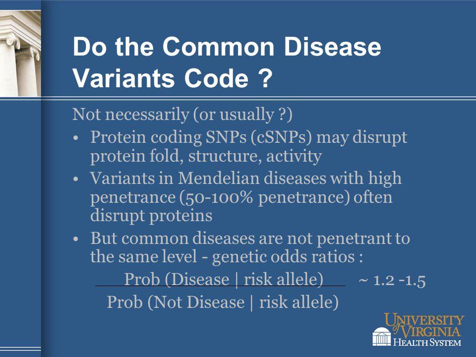 Do the Common Disease Variants Code .