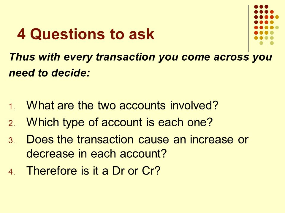 4 Questions to ask Thus with every transaction you come across you need to decide: 1.