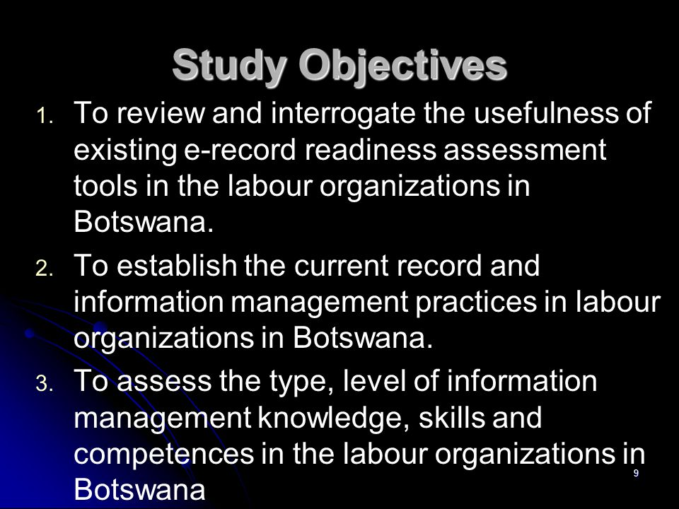 Study Objectives 1.