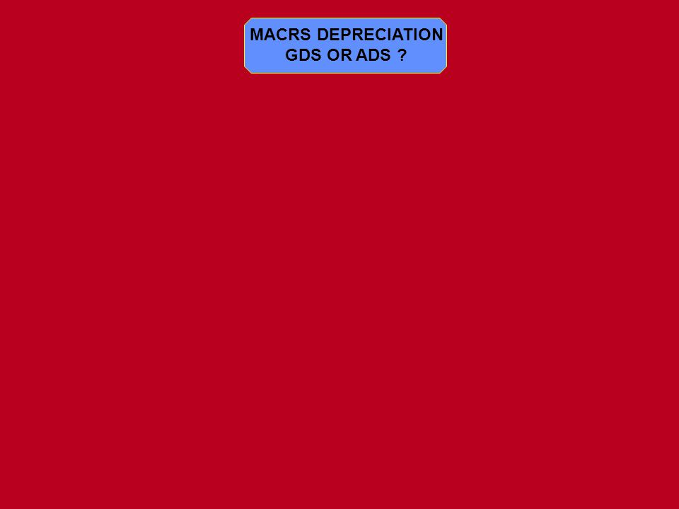 MACRS DEPRECIATION GDS OR ADS ?