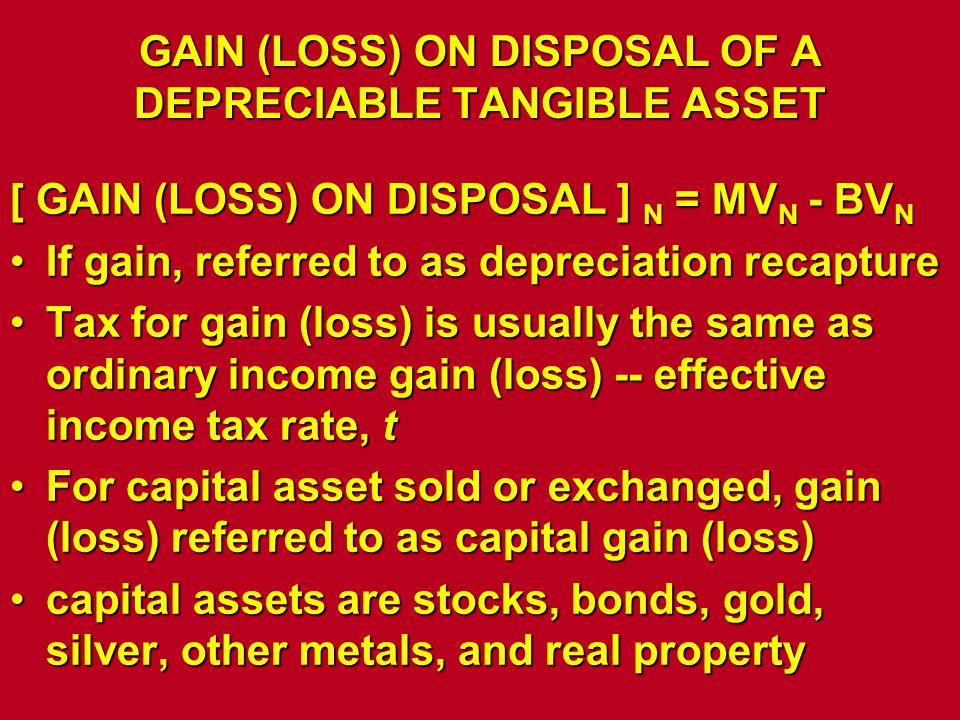 GAIN (LOSS) ON DISPOSAL OF A DEPRECIABLE TANGIBLE ASSET [ GAIN (LOSS) ON DISPOSAL ] N = MV N - BV N If gain, referred to as depreciation recaptureIf g