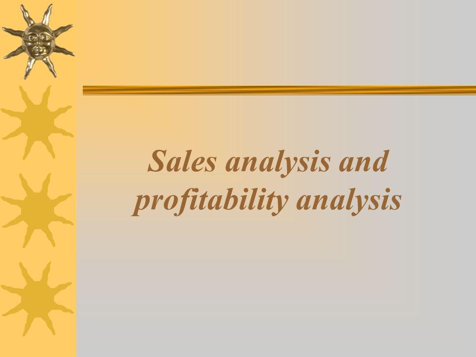 Sales analysis and profitability analysis