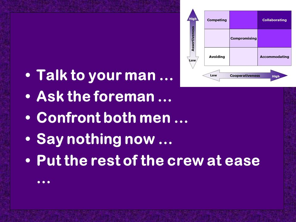 Talk to your man... Ask the foreman... Confront both men...