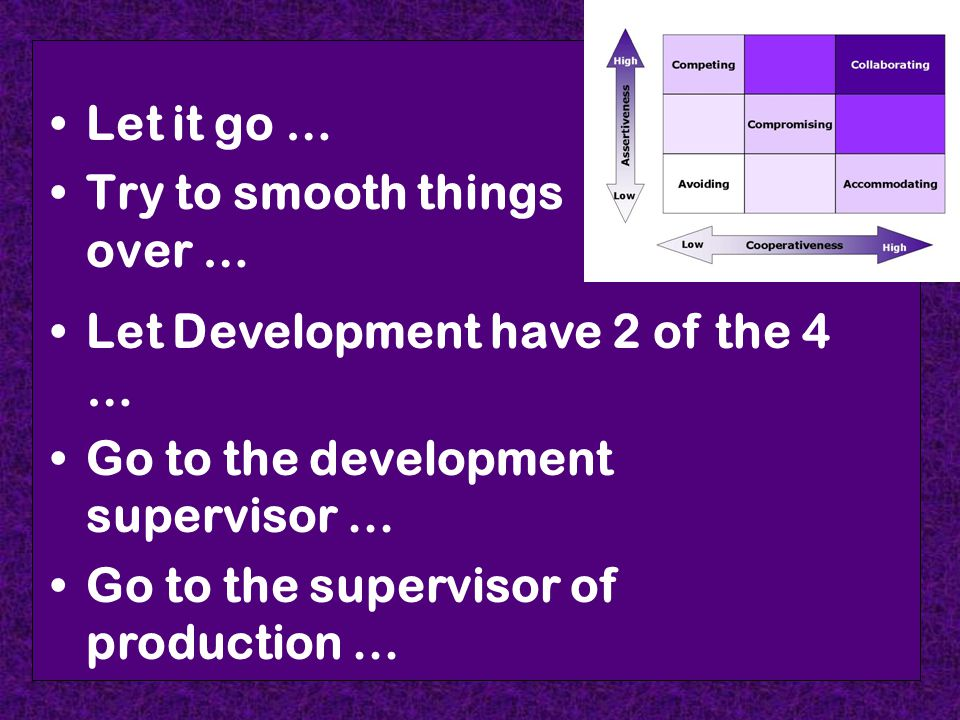 Let it go … Try to smooth things over … Let Development have 2 of the 4 … Go to the development supervisor... Go to the supervisor of production...