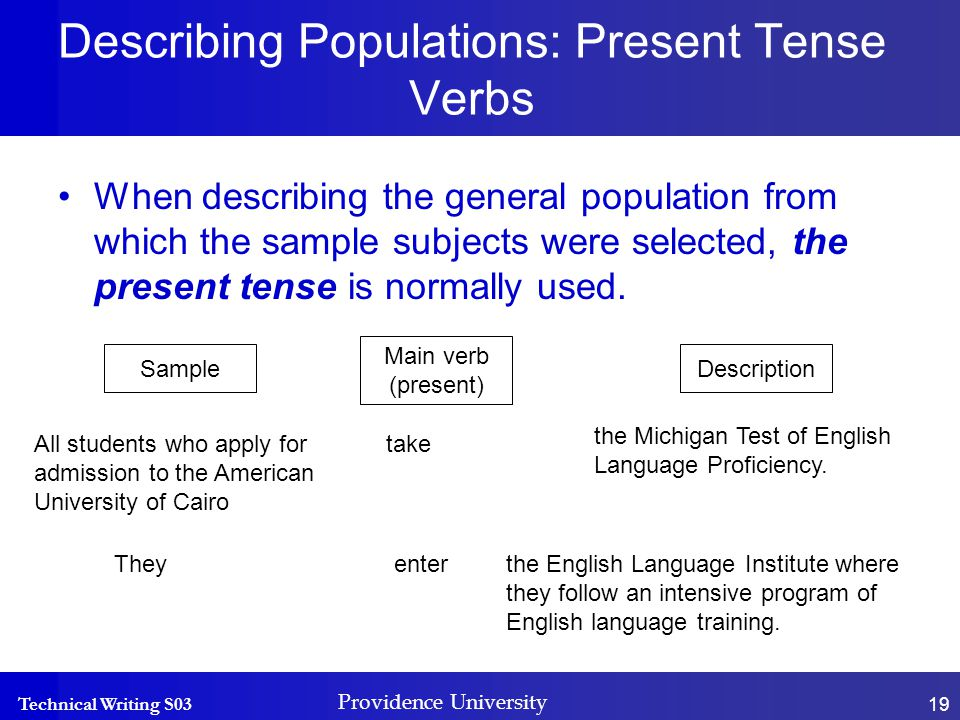 Technical Writing S03 Providence University 19 Describing Populations: Present Tense Verbs Sample Main verb (present) Description Theyenterthe English Language Institute where they follow an intensive program of English language training.