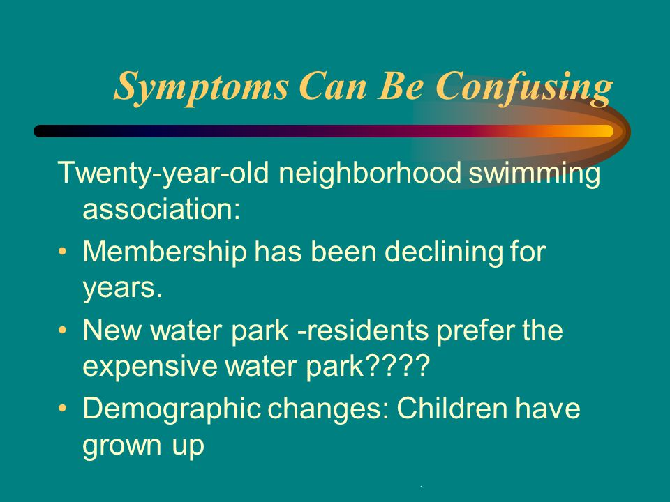 Twenty-year-old neighborhood swimming association: Membership has been declining for years.