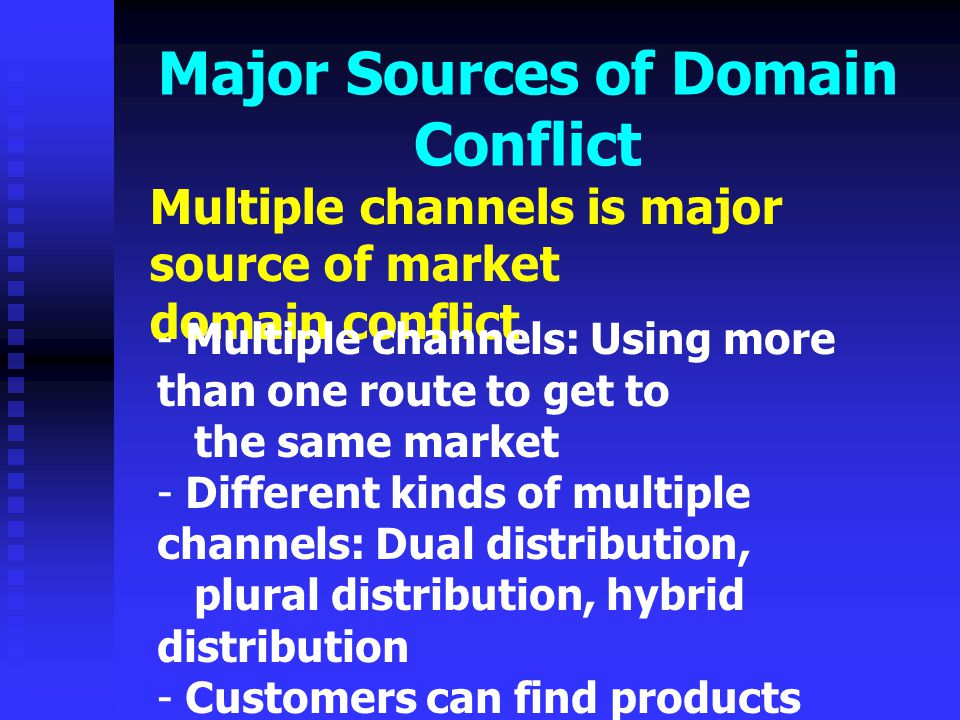 Major Sources of Domain Conflict Multiple channels is major source of market domain conflict - Multiple channels: Using more than one route to get to