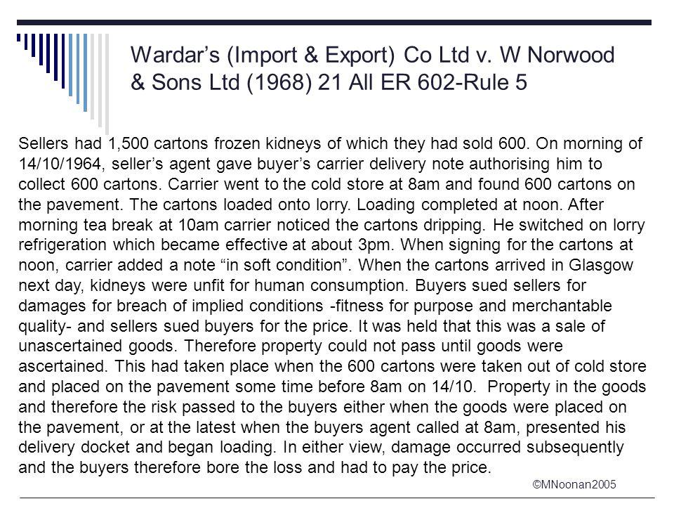 ©MNoonan2005 Wardar's (Import & Export) Co Ltd v.
